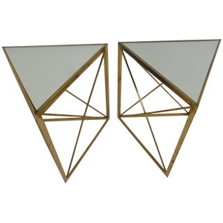 1980s Mid-Century Modern Brass Classic Triangle Tables - a Pair For Sale