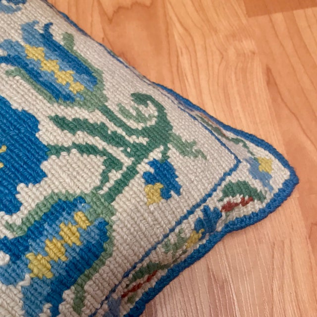 Textile 1950s Shabby Chic Handmade Needlepoint Pillow For Sale - Image 7 of 13