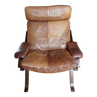 Mid-Century Scandinavian Leather Lounge Chair