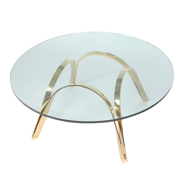 ROGER SPRUNGER-STYLE BRASS AND GLASS COFFEE TABLE BY TRI-MARK - Image 1 of 4