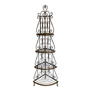 French Style Brass and Wrought Iron Four-Tier Bakers Rack For Sale