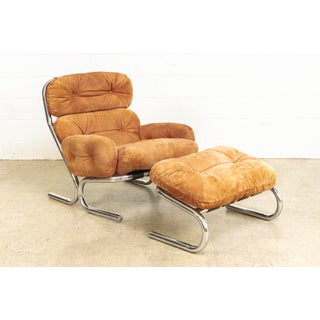 Mid Century 1970s Milo Baughman for Directional Orange Suede Lounge Chair With Ottoman Preview