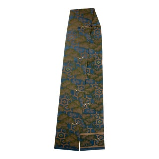 Japanese Woven Turquoise Silk and Metal Thread Obi For Sale