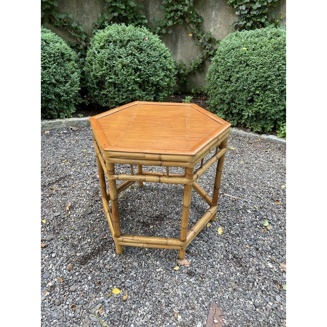 Vintage Bamboo Octagonal Side Table For Sale - Image 9 of 9