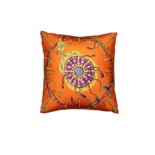 """Les Cles"" Hermès Silk Scarf Pillow For Sale"