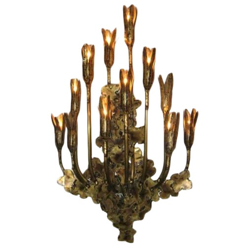 Curtis Jere attribution Large Multi Light Wall Sculpture in Patinated Brass For Sale