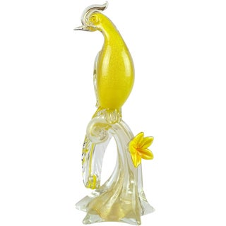 Barbini Murano Yellow Gold Flecks Italian Art Glass Bird of Paradise Sculpture For Sale