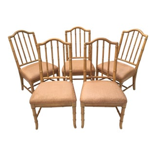 Hollywood Regency Faux Bamboo Dining Chairs - Set of 5