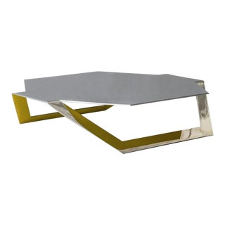 Hexagon Polished Steel Coffee Table by ATRA For Sale