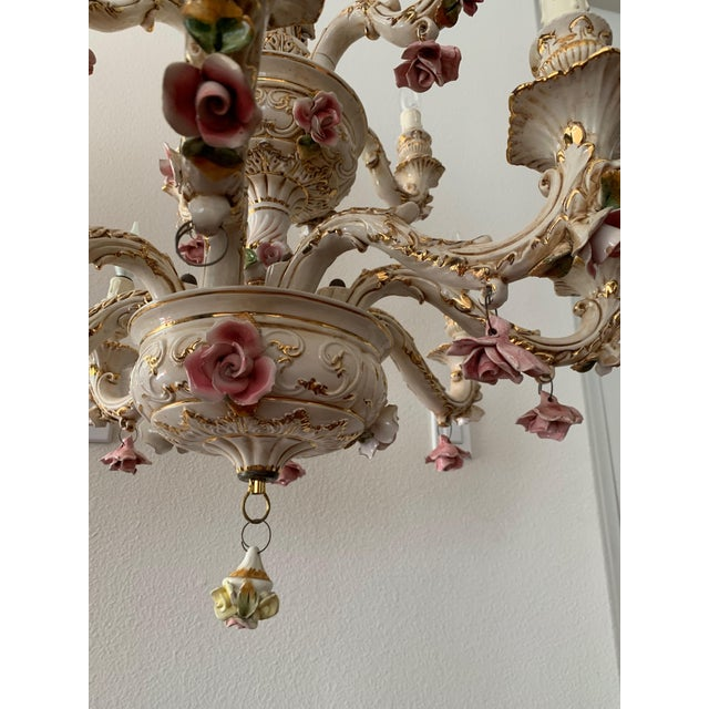 Capodimonte Capodimonte Italian 12 Arm Porcelain Chandelier For Sale - Image 4 of 11
