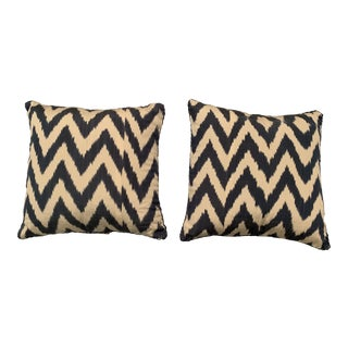 Contemporary Madeline Weinrib Blue Zig Zag Ikat Pillows - a Pair For Sale