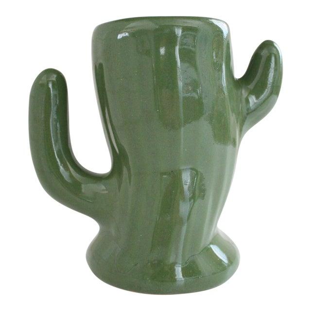 Green Ceramic Saguaro Planter - Image 1 of 6