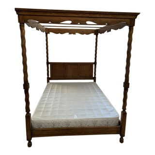 American Classical Drexel Solid Oak Canopy Bed For Sale