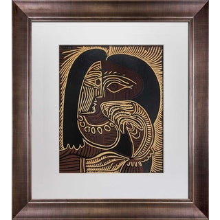 "1960s Vintage Pablo Picasso ""Femme Au Collier"" Linocut Limited Edition Print For Sale"