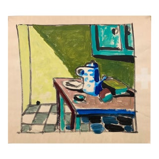 """Donald Stacy """"Mouse Hole Kitchen Still Life"""" C.1950s Gouache Mid Century Still Life Painting For Sale"""