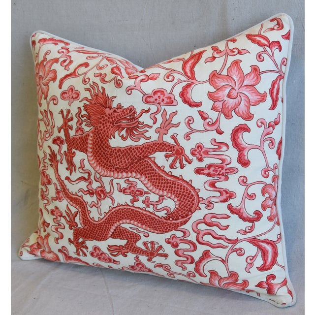 "Late 20th Century Italian Chinoiserie Scalamandre Dragon Feather/Down Pillow 26"" X 22"" For Sale - Image 5 of 8"