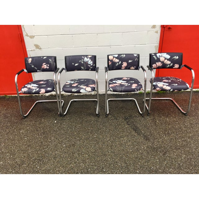Vintage Mid Century Bent Chrome Tube Newly Upholstered Armchairs- Set of 4 For Sale - Image 12 of 12