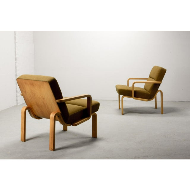 Mid-Century Danish Plywood and Mustard Fabric Lounge Chairs by Rud Thygesen for Magnus Olesen, 1970s For Sale - Image 6 of 12