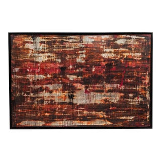 Abstract Red and White Painting in Black Frame For Sale