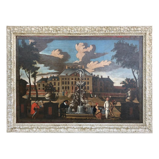"""17th Century Dutch School """"Palace Courtyard"""" Painting For Sale - Image 11 of 11"""