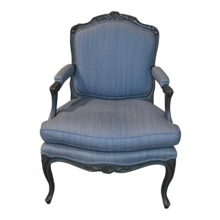 Vintage Country French Style Distressed Blue Bergere Chair