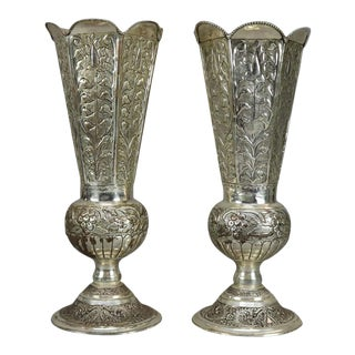 Vintage Silver Plate Floral Embossed Footed Vases - a Pair For Sale