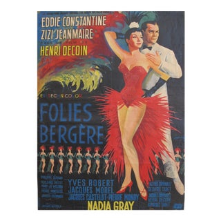 1956 French Movie Poster, Folies Bergere