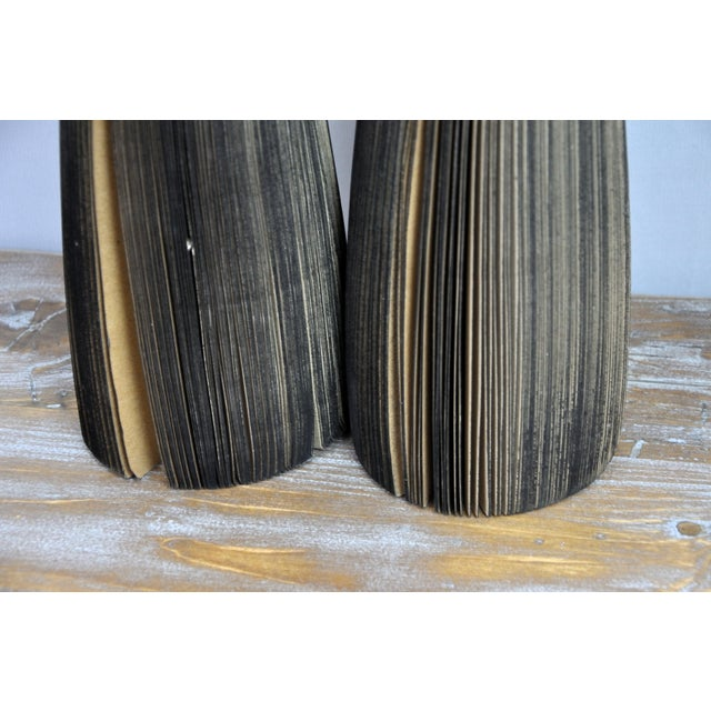 Pair of Reclaimed Craft Paper Designer Minialist Vases Like New For Sale - Image 12 of 13
