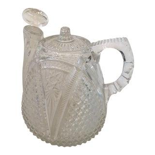 Vintage Mid-Century Cut Glass Pot & Stopper
