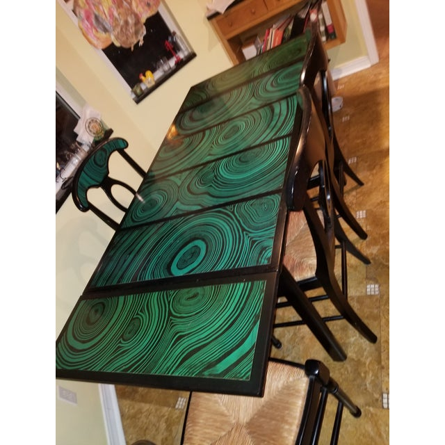 Wood 1970s Mid Century Faux Malachite Dining Set 5 Piece Set 1 Table 4 Chairs 2 Leaves All Matching! For Sale - Image 7 of 13