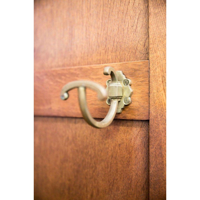 Brass French Art Deco Triple Panel Corner Closet For Sale - Image 7 of 10