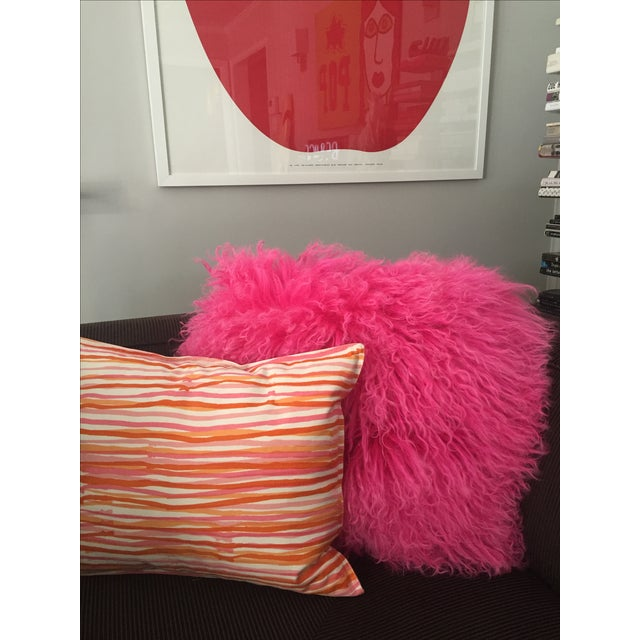 Pink Mongolian Lamb Fur Pillow - Image 3 of 6