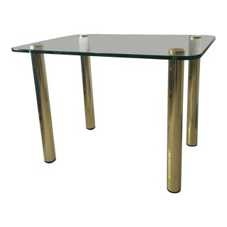 Mid-Century Modern Glass Top Cylindrical Brass Leg Side Table For Sale