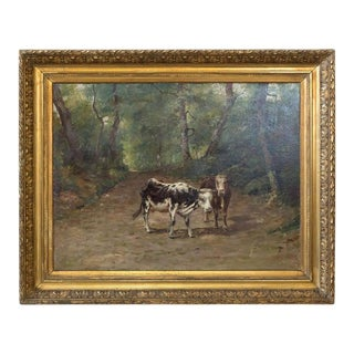 19th Century French Painting of Cows on a Forest Path by Emile Godchaux, Signed For Sale