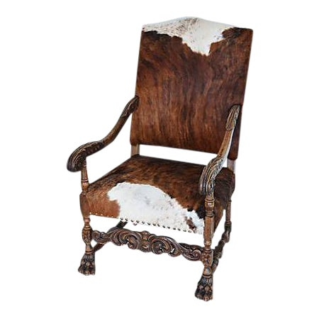 Antique Carved Oak & Cowhide Throne Armchair - Image 1 of 12