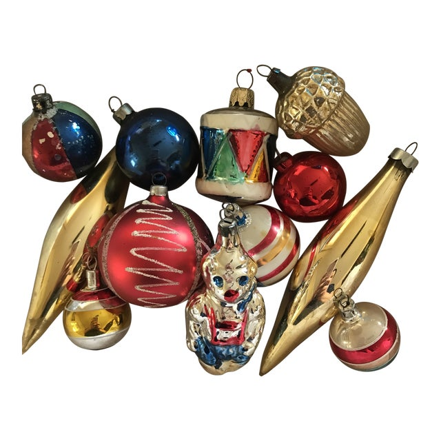 vintage red blue gold blown glass christmas ornaments set of 12 - Blown Glass Christmas Ornaments