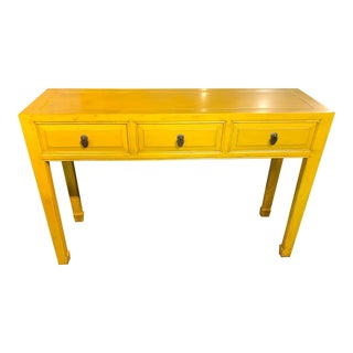 Asian Style Yellow 3-Drawer Console Table For Sale