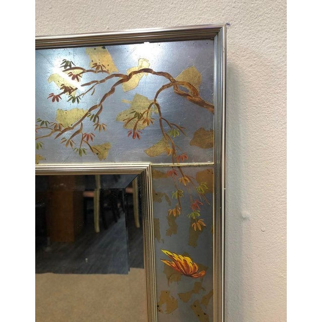 1990s Labarge Chinoiserie Wall Reverse Painted Mirror For Sale - Image 5 of 7