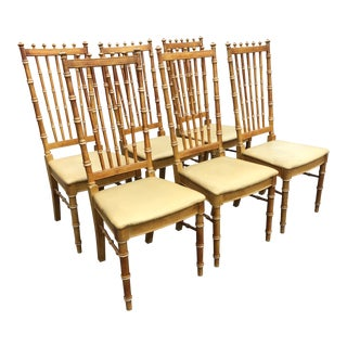 Late 20th Century Thomasville Bamboo High Back Chairs - Set of 6 For Sale
