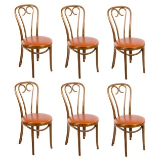 1950s Vintage Thonet Style Bentwood Vinyl Upholstered Bistro Chairs - Set of 6 For Sale