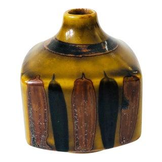 Vintage Square Pottery Bud Vase For Sale
