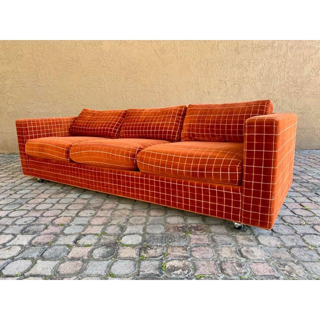 Harvey Probber 70s Orange Stripped Long Sofa Baughman/Probber Era For Sale - Image 4 of 9