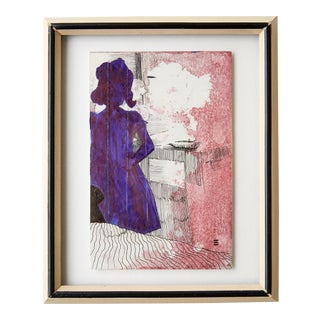 Framed Silloutte of a Girl in Watercolor and Ink For Sale