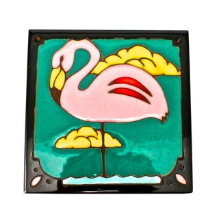 Glazed Terra-Cotta Flamingo Trivet