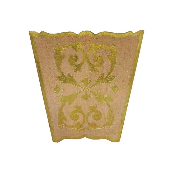 Vintage Florentina Italy Italian Light Pink and Gold Waste Basket Trash Can Bin For Sale