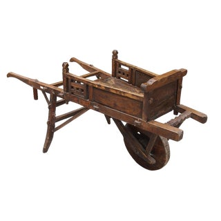 Chinese Vintage Wood Single Wheel Farm Hand Cart