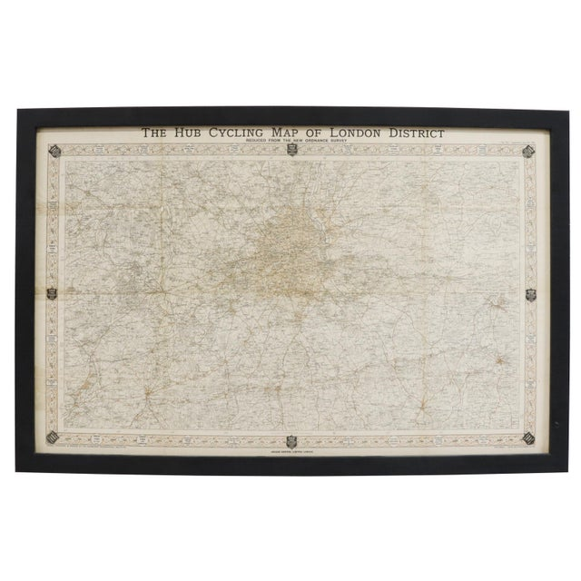 """Early 20th Century Vintage London Original """"The Hub Cycling Map London District"""" Map Framed For Sale - Image 5 of 5"""