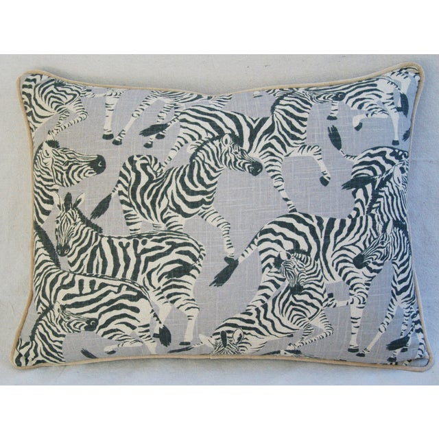 "Custom Safari Zebra Linen/Velvet Feather & Down Pillows 24"" x 18"" - Pair For Sale - Image 10 of 11"