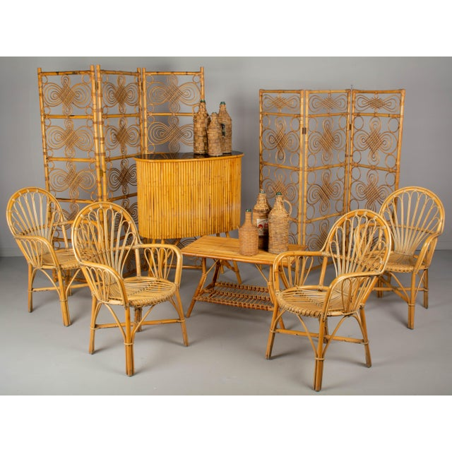 Tan Mid Century French Riviera Bamboo and Rattan Screen For Sale - Image 8 of 9