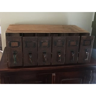 1940s Vintage Industrial 6- Drawer Library Card Catalog File Cabinet Preview